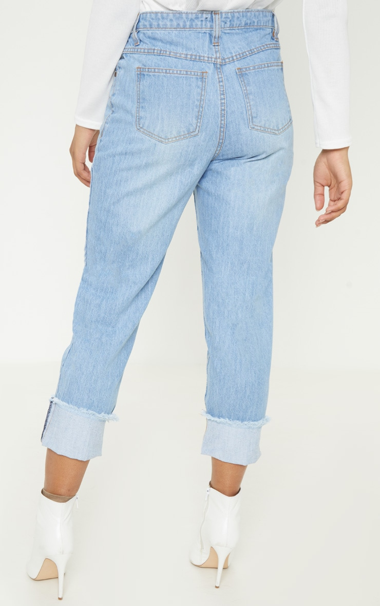 Tall Light Wash Cropped Turn Up Mom Jeans 4