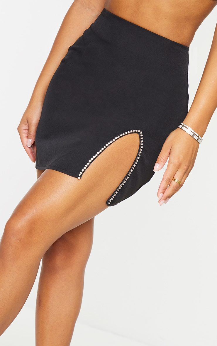 Petite Black Diamante Split Skirt 5