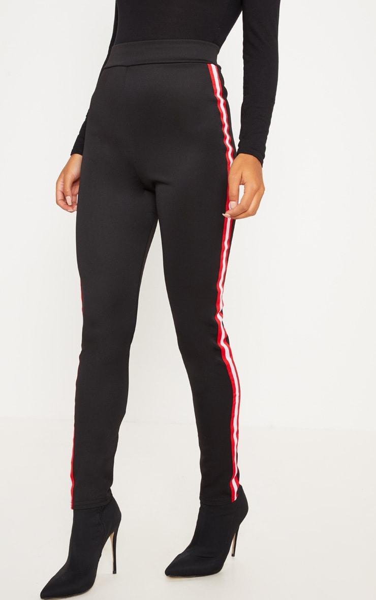 Black Sporty Stripe Leggings 2