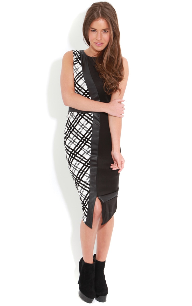 Lou Black And White Check Midi Dress 3