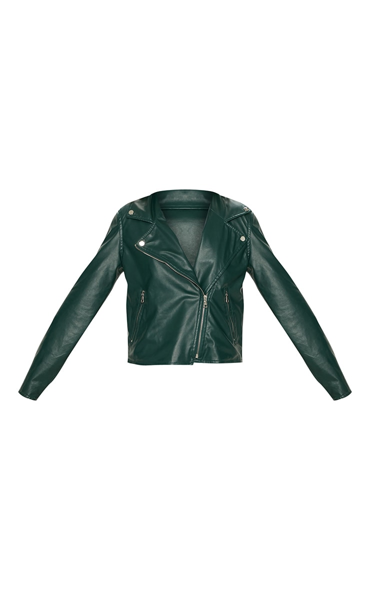 Emerald Green PU Biker Jacket 3