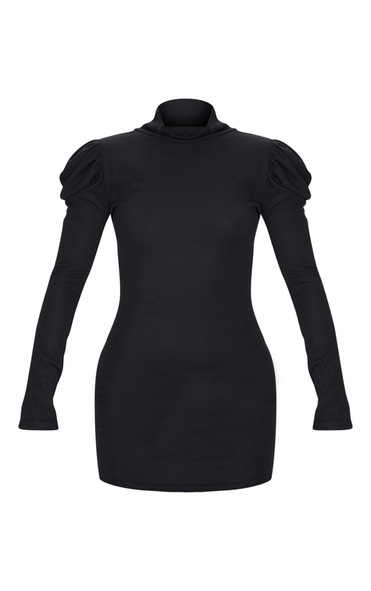 Black Rib Puff Sleeve High Neck Bodycon Dress 6