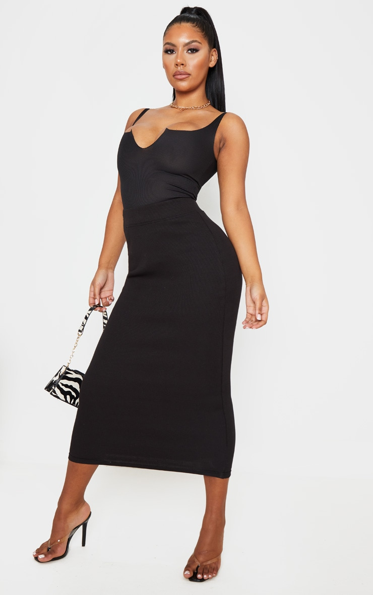 Black Structured Rib Bodycon Midaxi Skirt 1