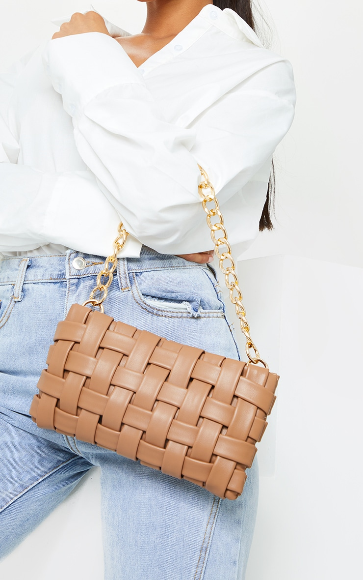 Tan Oversized Weave With Gold Chain Shoulder Bag image 1