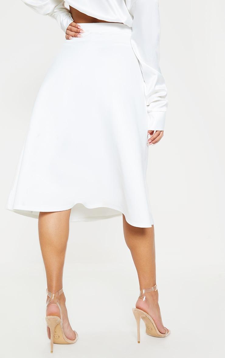 White Scuba A Line Flippy Midi Skirt  4