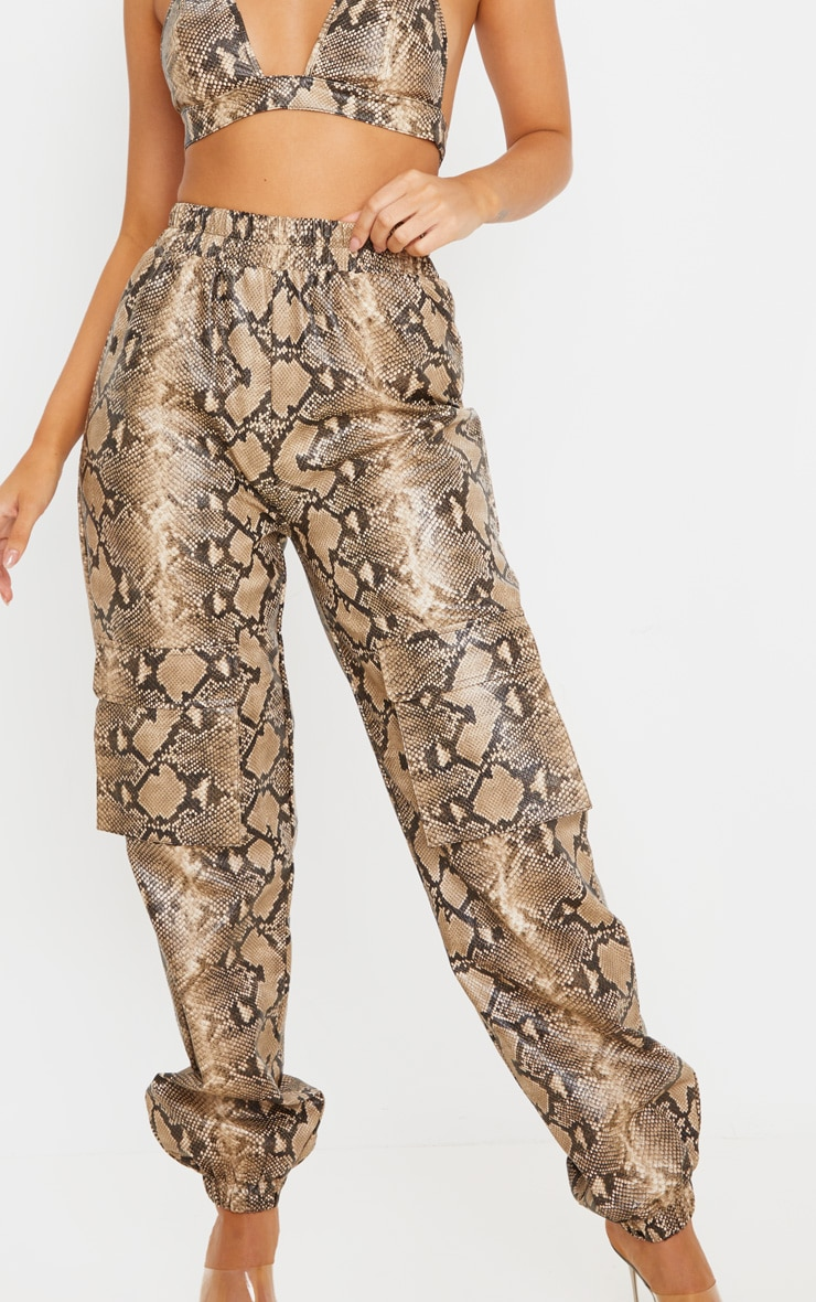 Taupe Snake Print Pocket Detail Cargo Pants 5