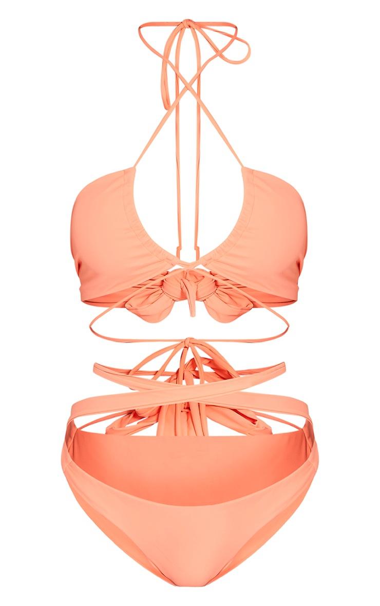 Kaytie Neon Orange Multi Strap Bikini 4