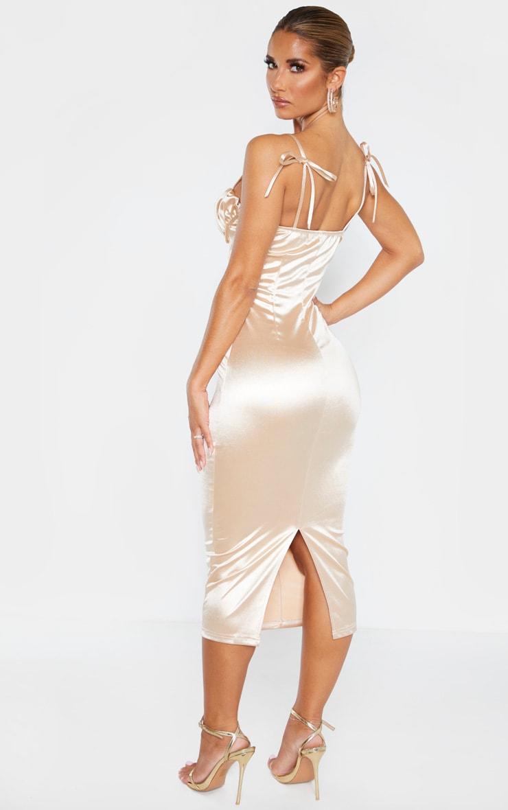 Champagne Ruched Bust Panelled Satin Midi Dress 2