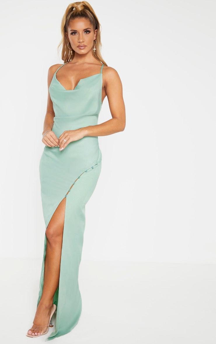 Sage Khaki Cowl Neck Button Maxi Dress  1