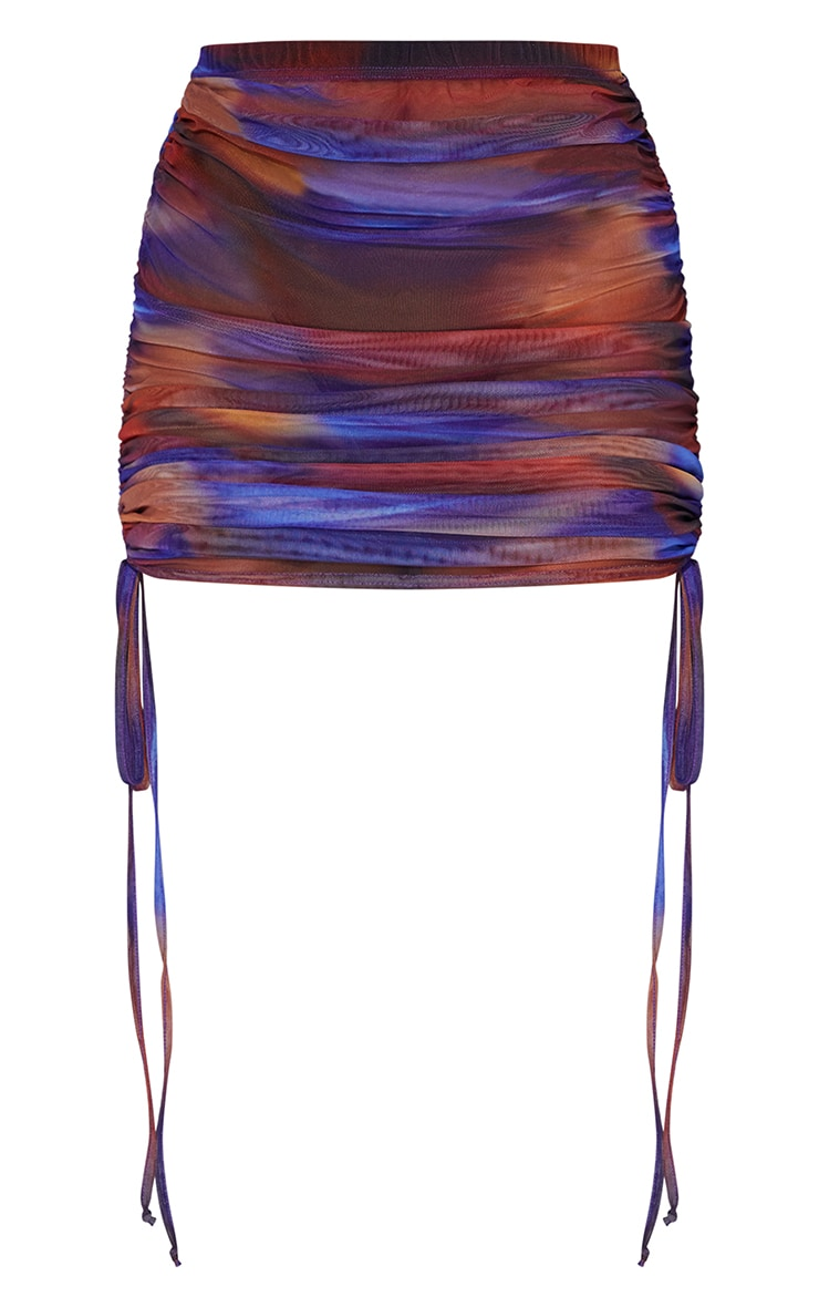 Blue Abstract Print Ruched Side Bodycon Skirt 6