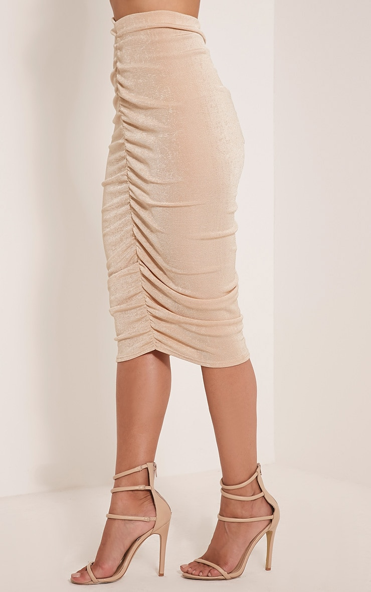 Remmie Stone Ruched Midi Skirt 4