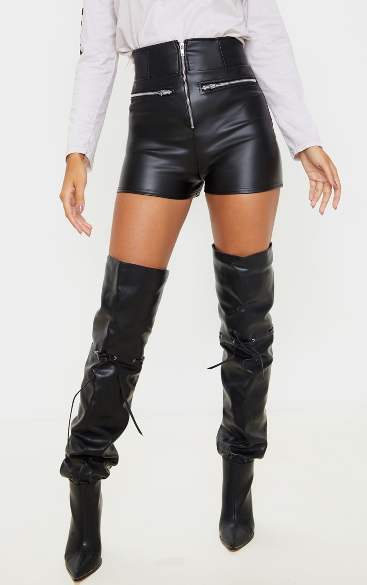 Black Faux Leather High Waisted Zip Detail Short 2