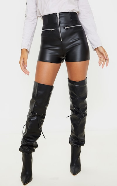 Black Faux Leather High Waisted Zip Detail Short
