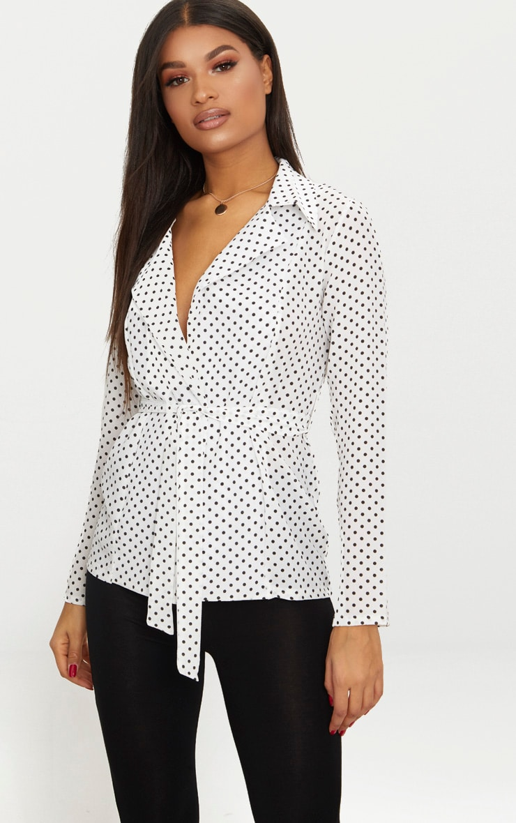 White Polka Dot Belted Top 1