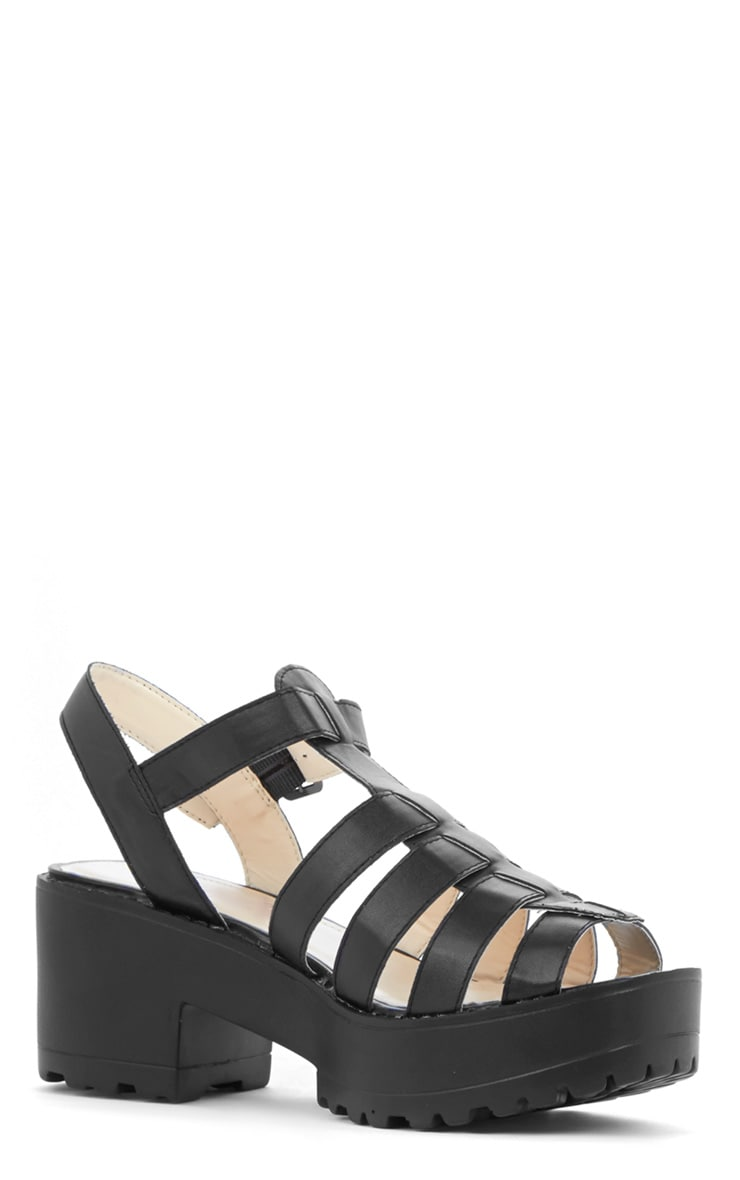 Nini Black Cut Out Cleated Shoe  2