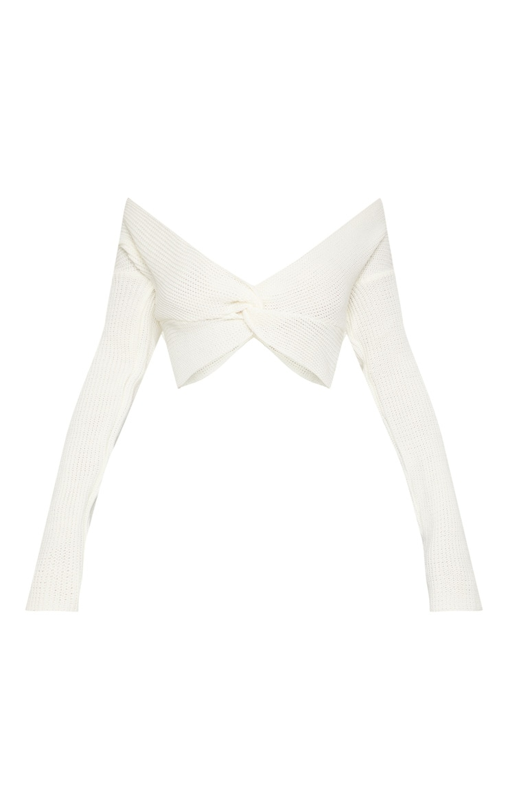 Cream Twisted Front Long Sleeve Knit Top  3