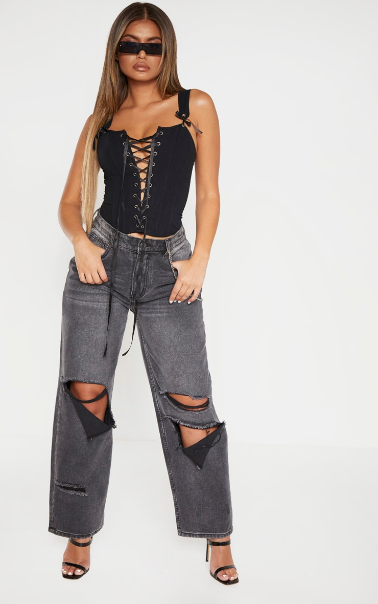 Black Woven Structured Lace Up Corset Crop Top 4