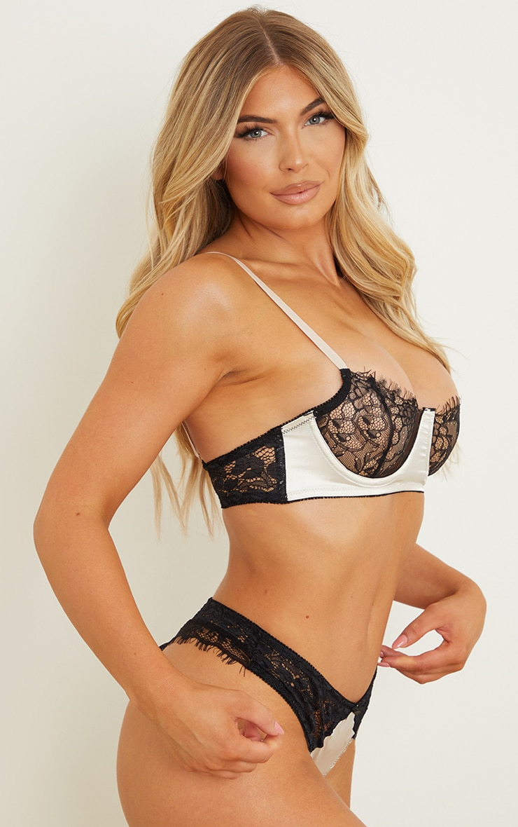 Champagne Satin And Lace Underwired Bra 2