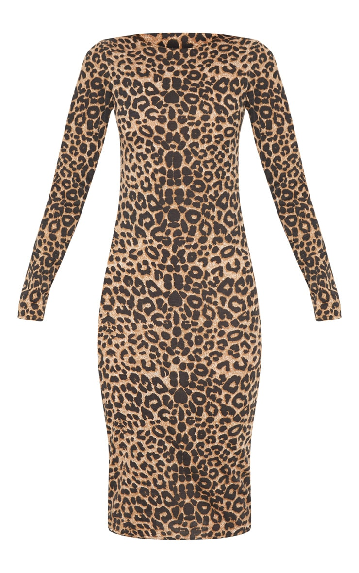 Brown Leopard Print Long Sleeve Midi Dress 3