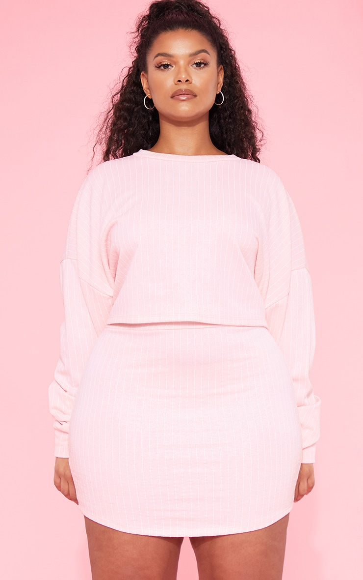 RECYCLED Plus Blush Pinstripe Crop Sweater