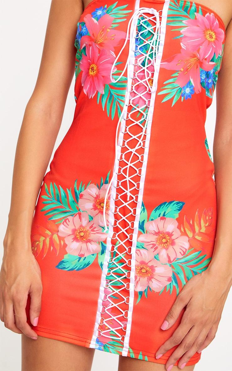 Red Floral Print Lace Up Detail Bandeau Bodycon Dress 5