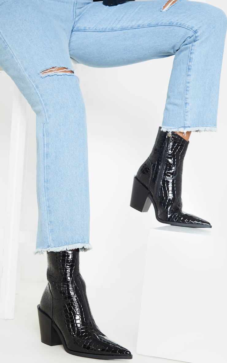 croco Bottines pointues noires western style effet rtChdsQ