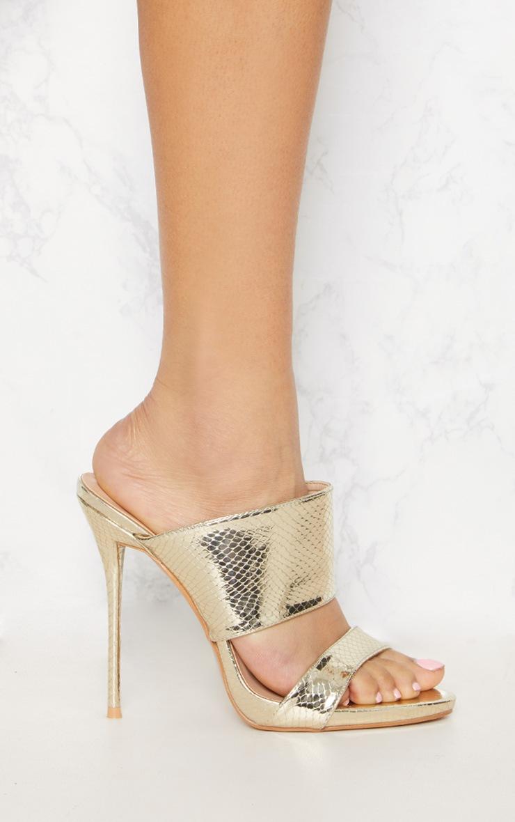 Gold Twin Strap Mule Sandal 3