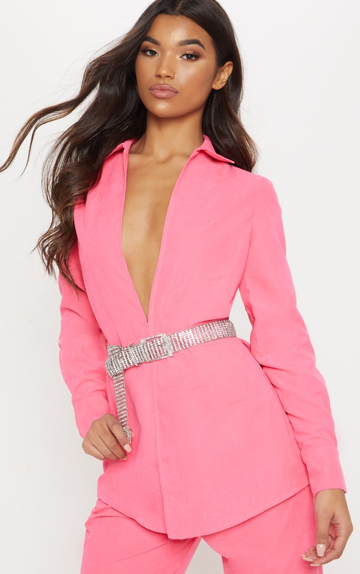 NEON PINK FAUX SUEDE OVERSIZED SHIRT