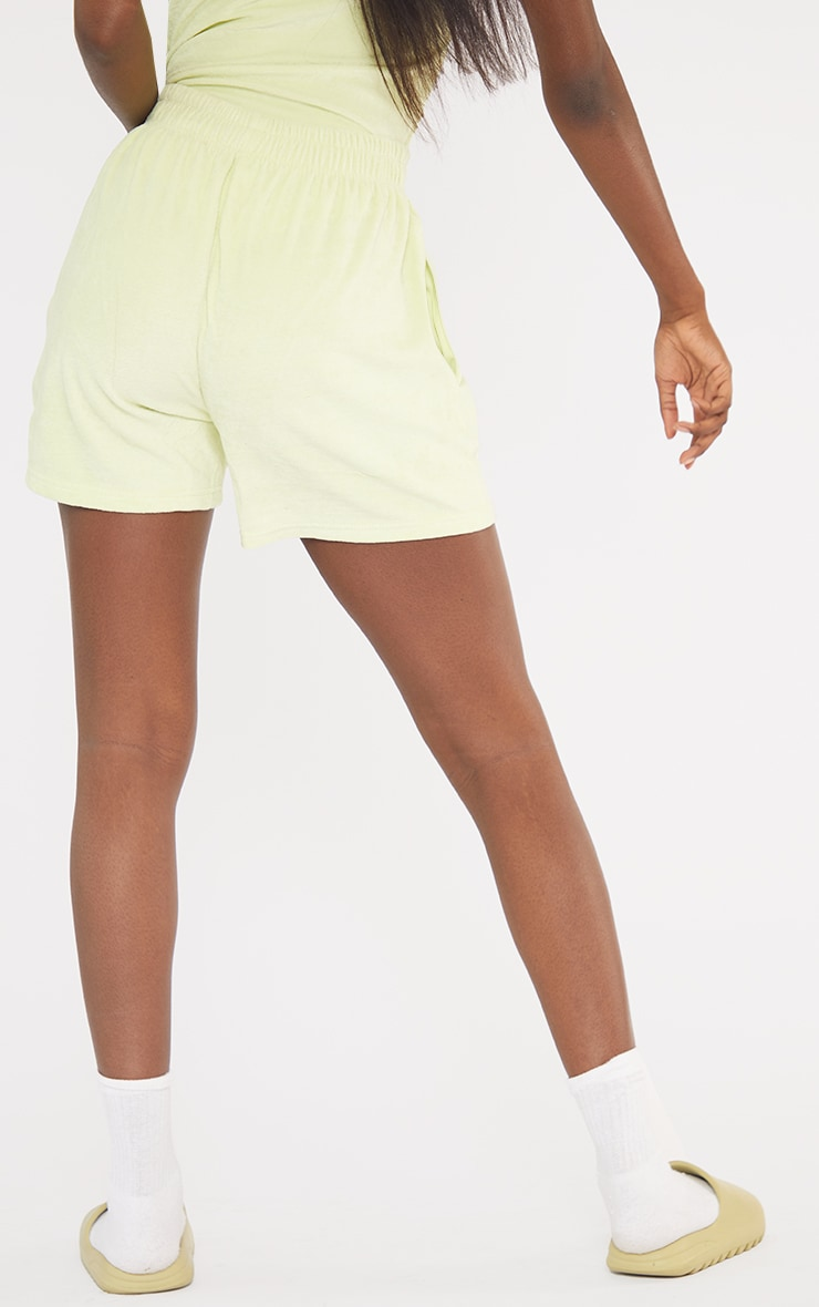 Tall Lime Velour Oversized Sweat Shorts 3