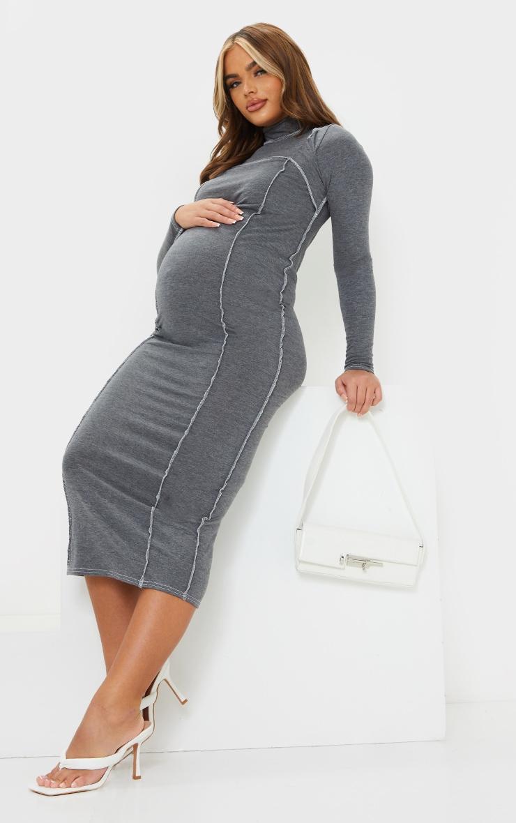 Maternity Grey Cut Out Midi Dress 3