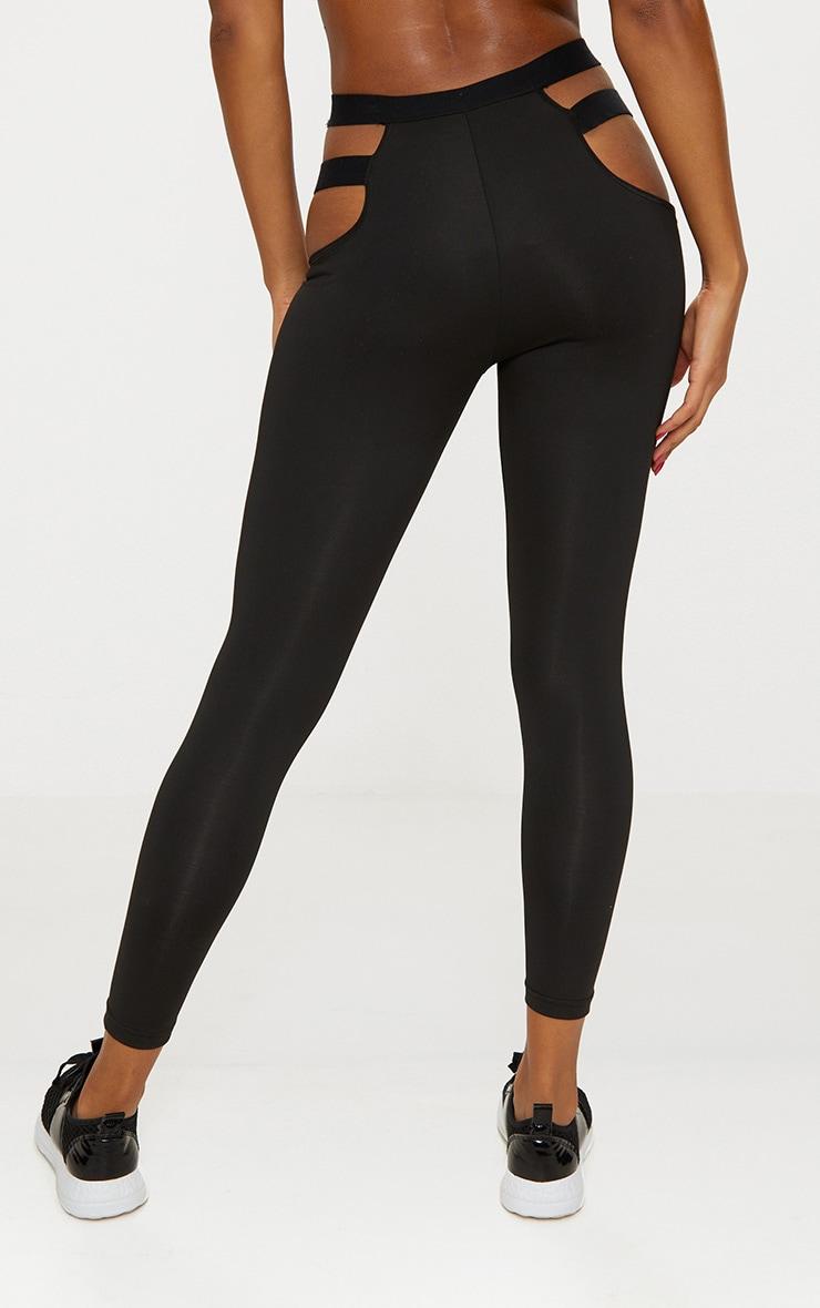 Black Strap Detail Sports Leggings 5