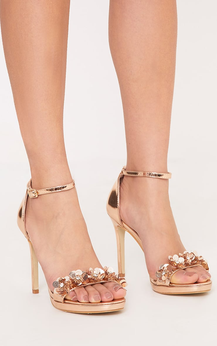 Ayshea Rose Gold Embellished Strappy Heels 1
