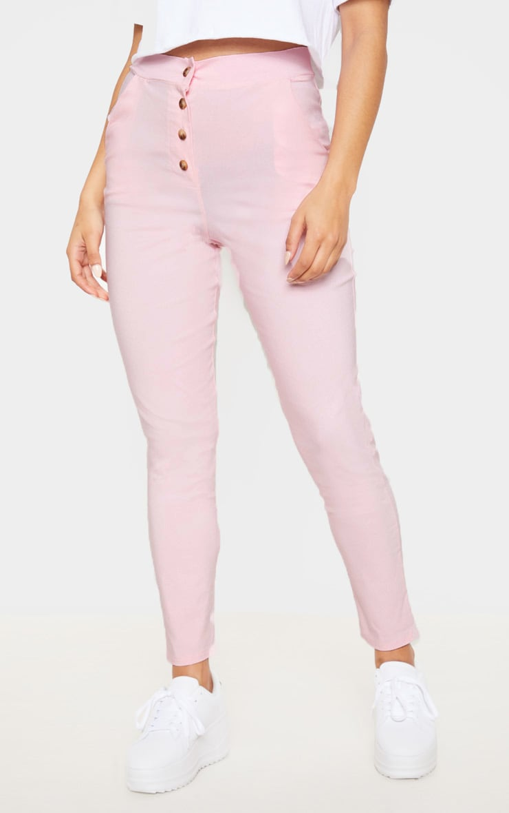 Pastel Pink Button Front High Waisted Skinny Trouser 2