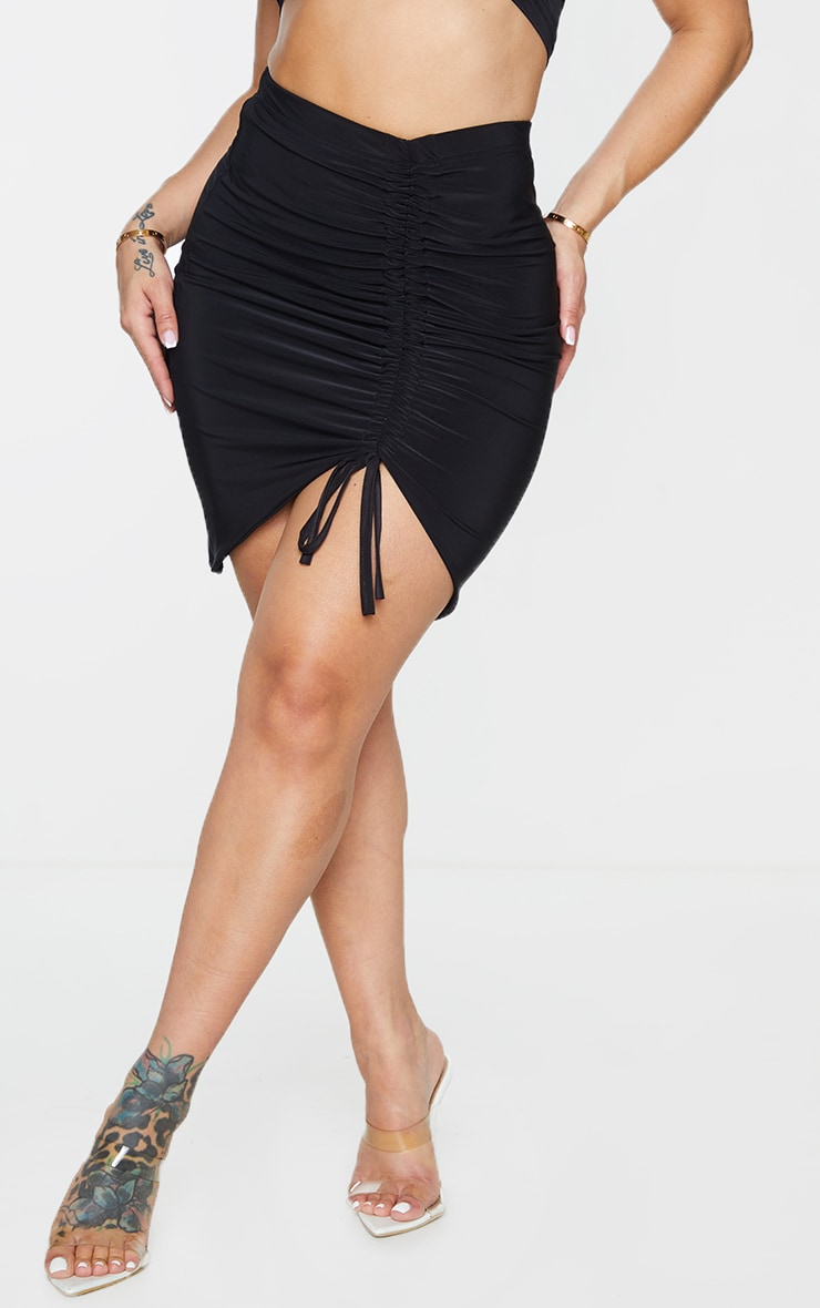Shape Black Slinky Ruched Front Bodycon Skirt 2
