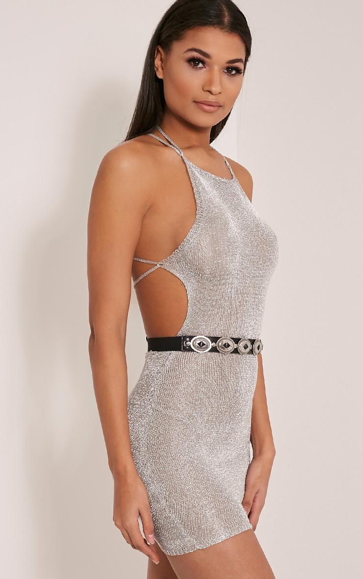 Charlay Silver Sheer Metallic Knitted Mini Dress 2