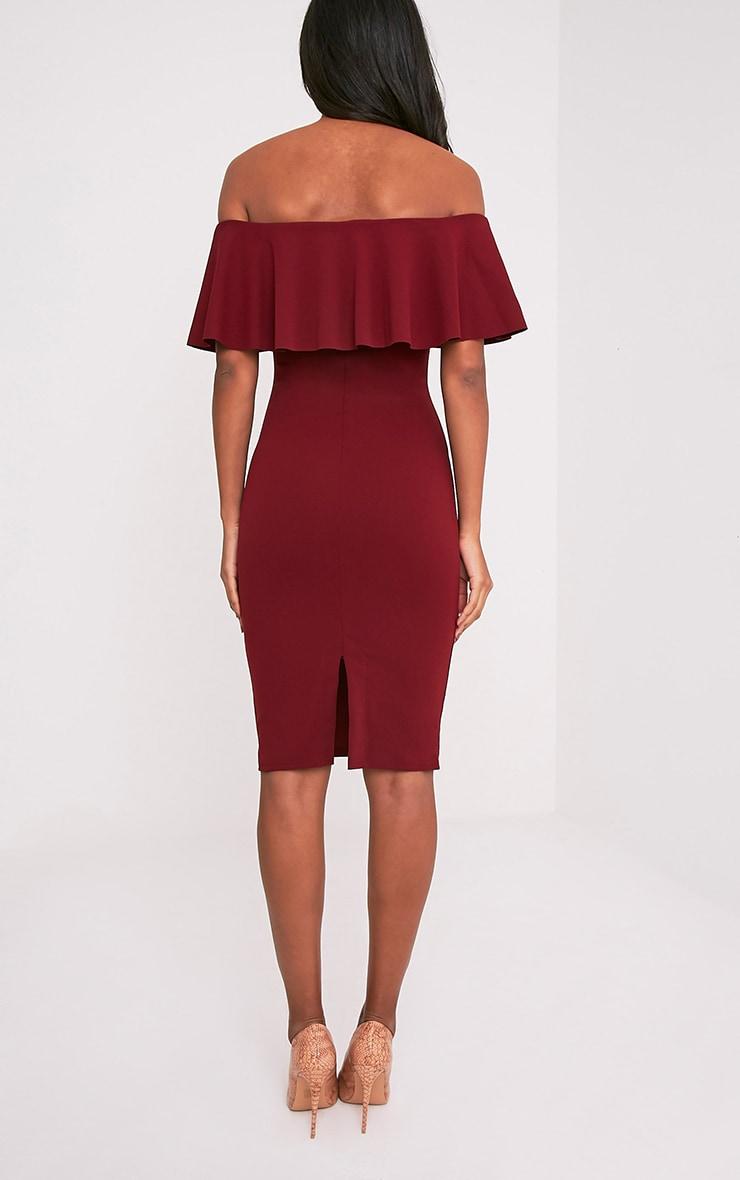 Celinea Burgundy Bardot Frill Midi Dress Pretty Little Thing Sale 100% Original Y4Nmtz