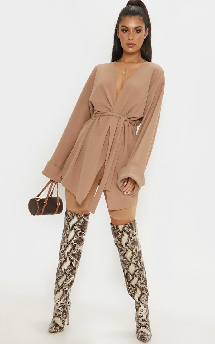 Camel Belted Oversized Sleeve Blazer 4