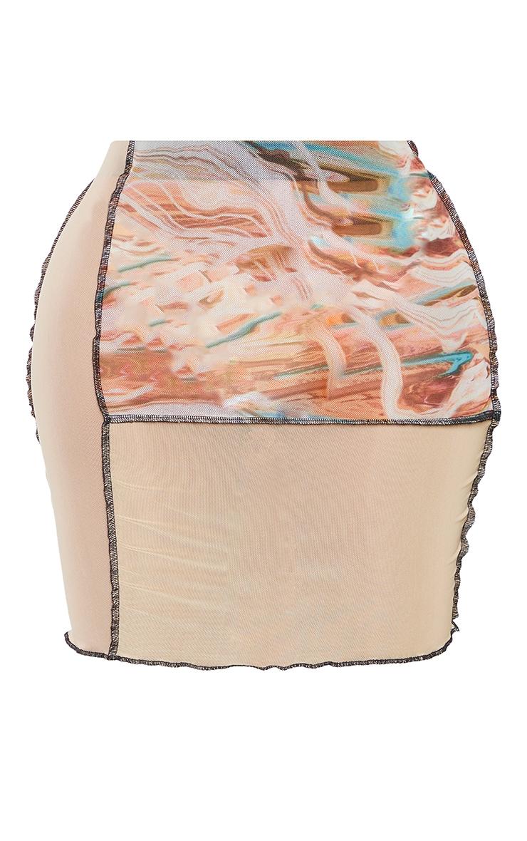 Shape Pink Marble Print Sheer Mesh Panel Detail Bodycon Skirt 6