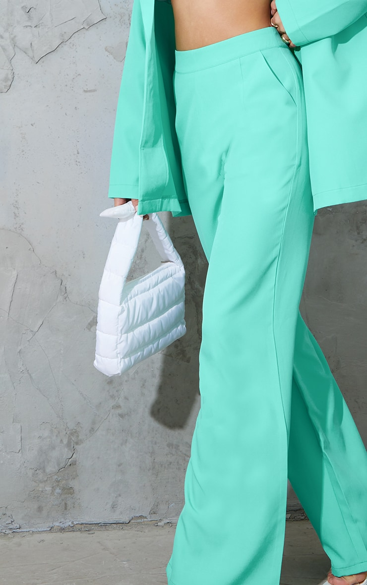 Teal Tailored Wide Leg Pants 4