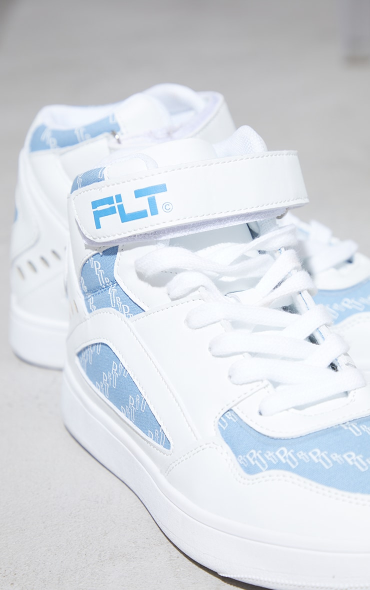 PRETTYLITTLETHING Blue Monogram High Top Sneakers 4