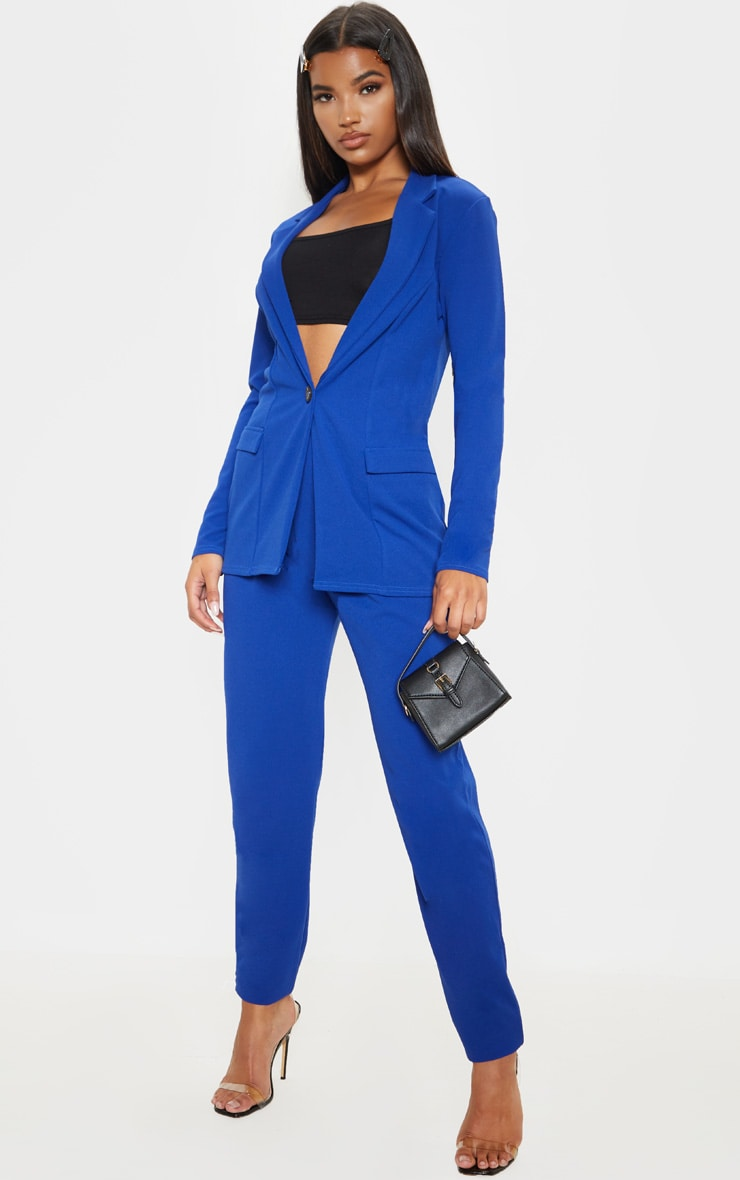 Blue Fitted Button Detail Crepe Blazer 4