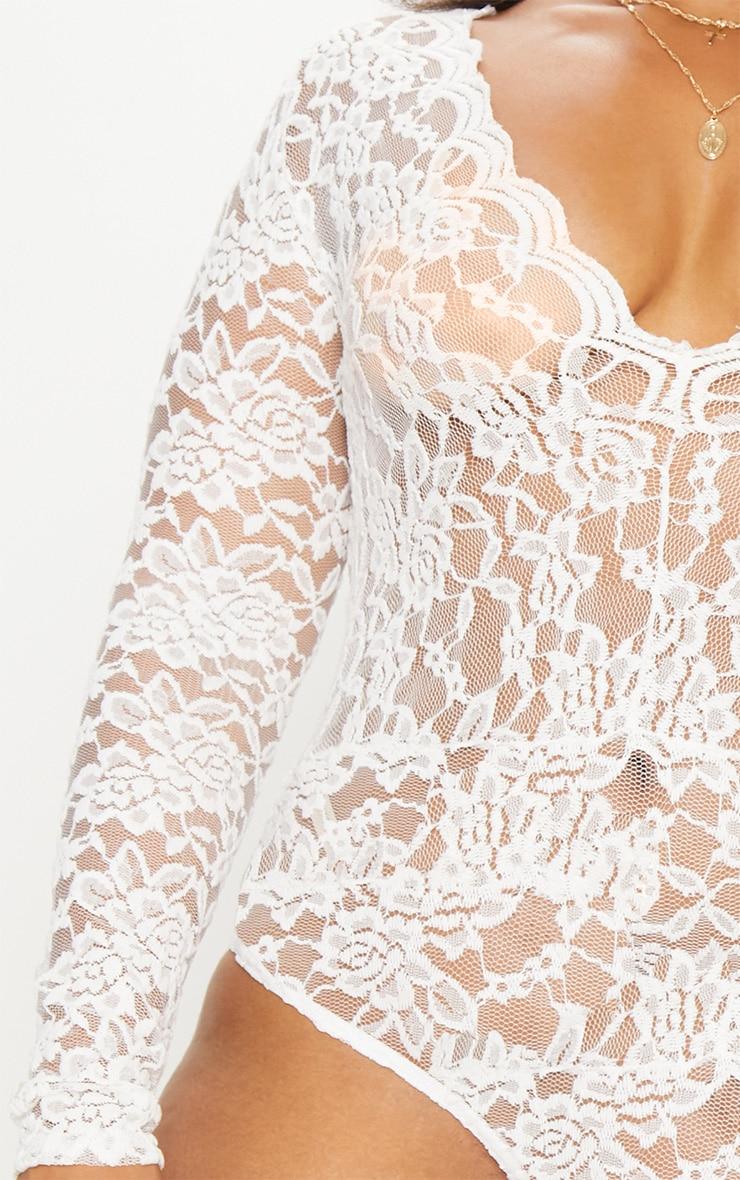 Plus White Sheer Lace Plunge Long Sleeve Bodysuit 6