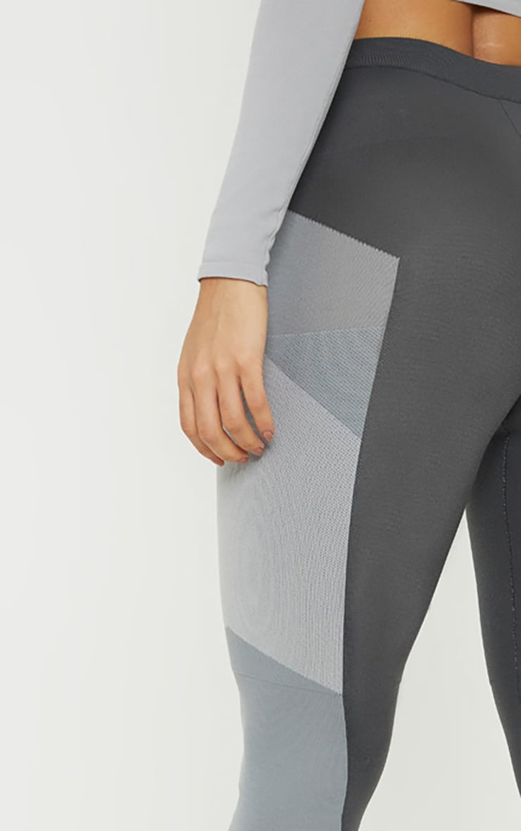 Grey Seamless Knit Panelled Gym Legging 5
