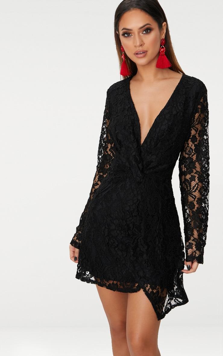 Black Plunge Long Sleeve Lace Bodycon Dress 1