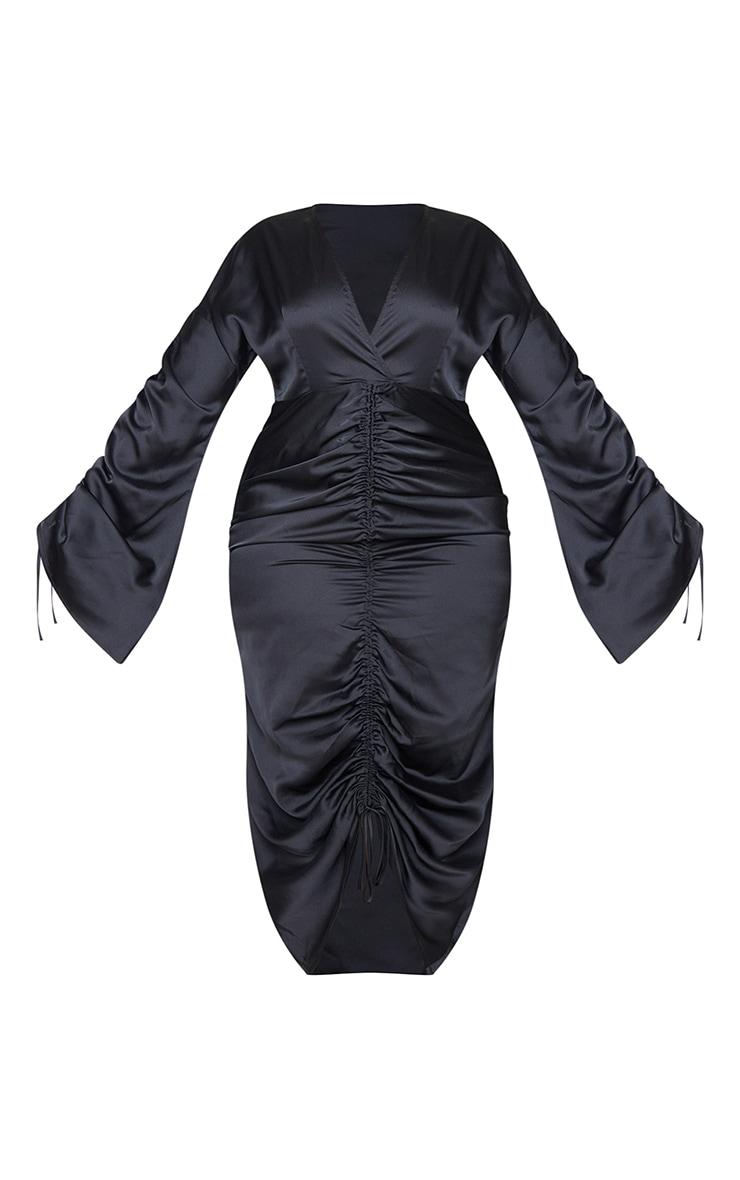 Plus Black Satin Ruched Plunge Bodycon Midi Dress 5