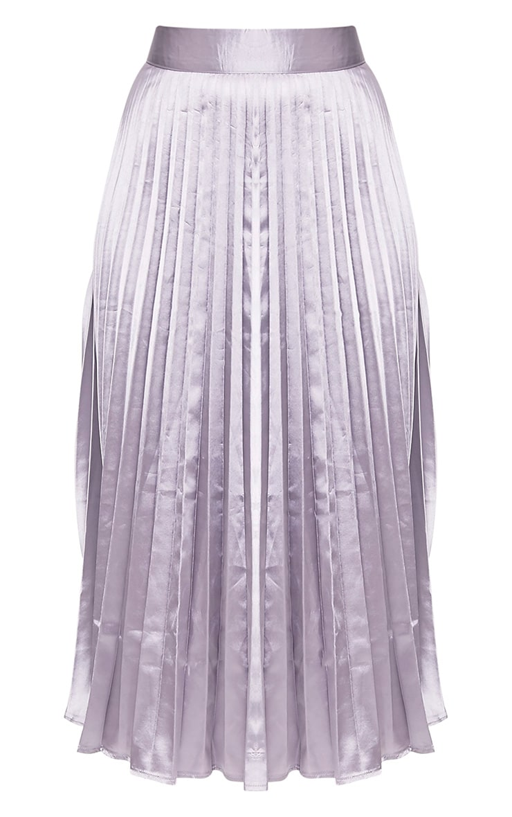 Harmonia Grey Satin Pleated Midi Skirt 3