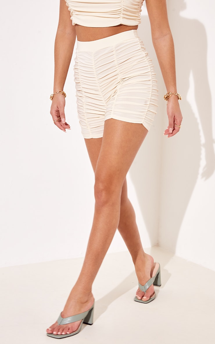 Cream Slinky Ruched Detail Cycle Shorts 2
