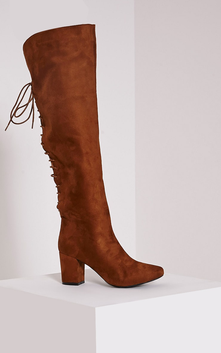 Sharan Tan Faux Suede Laced Up Boots 3