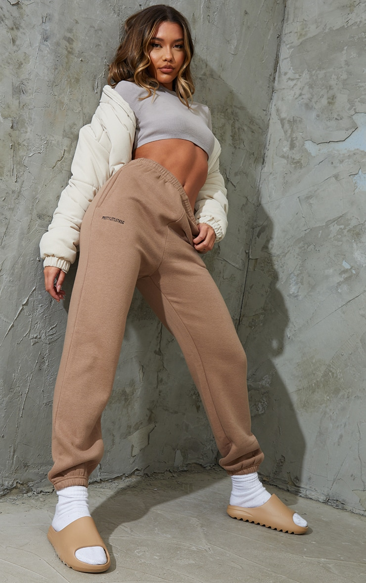 PRETTYLITTLETHING Taupe Lounge Track Pants