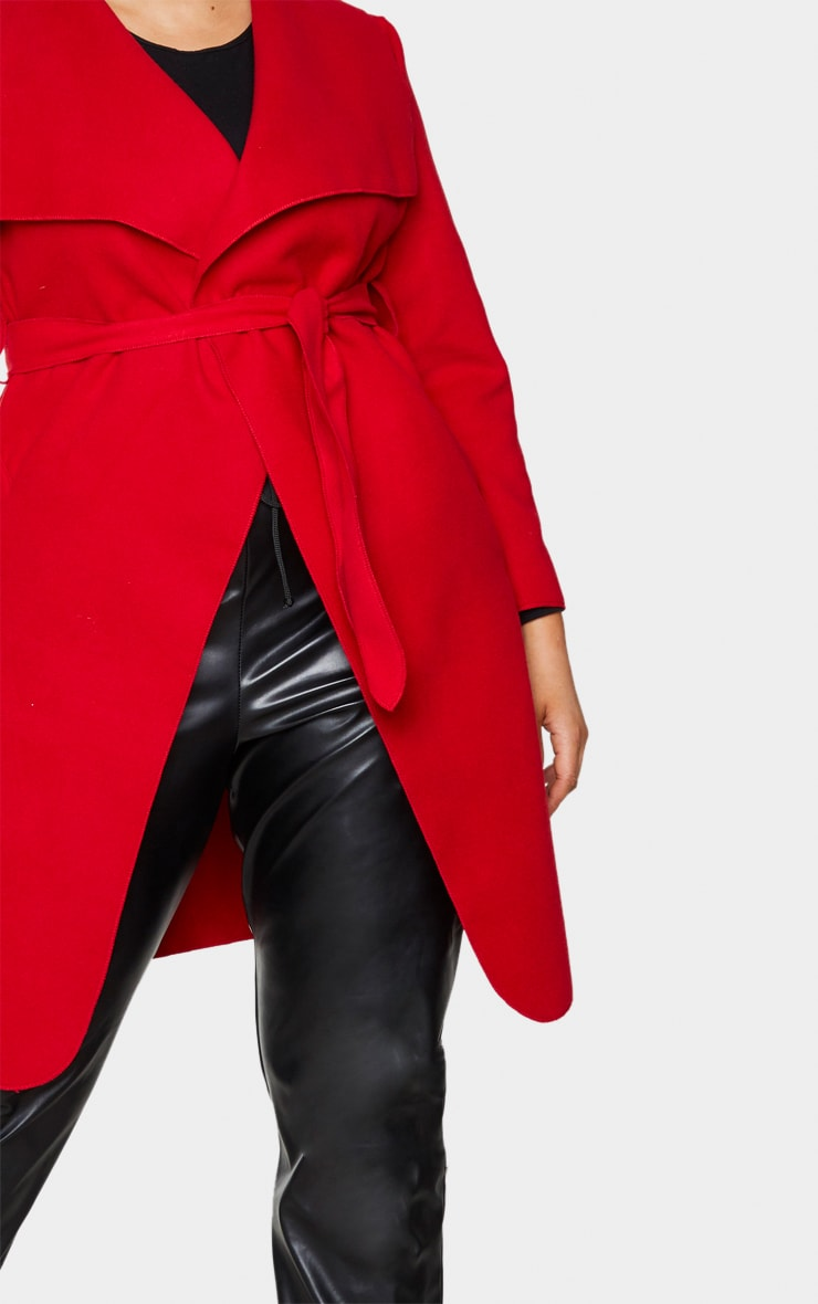 Plus Veronica Red Oversized Waterfall Belted Coat 4